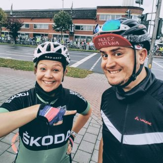 Maren und Jan kurz vor dem Start des Münsterland Giro 2017 Coffee and Chainrings